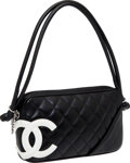 Luxury Accessories:Bags, Chanel Black & White Lambskin Leather Cambon Pochette. ...