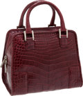 Luxury Accessories:Bags, Loewe Burgundy Crocodile Leather Bag. ...