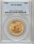 Indian Eagles: , 1926 $10 MS63 PCGS. PCGS Population (10060/3444). NGC Census:(12190/4770). Mintage: 1,014,000. Numismedia Wsl. Price for p...