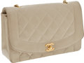 Luxury Accessories:Bags, Chanel Light Beige Lambskin Leather Flap Bag with Gold Hardware....