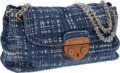 Luxury Accessories:Bags, Prada Blue Canvas with Chain Strap Large Flap Bag. ...