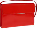 Luxury Accessories:Bags, Yves St Laurent Tomato Red Smooth Leather Clutch with ShoulderStrap Bag. ...