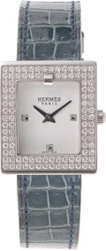 Luxury Accessories:Accessories, Hermes Double Diamond Bezel Square Watch with Blue Jean Porosus Crocodile Strap. ...