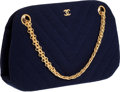 Luxury Accessories:Bags, Chanel Royal Blue Chevron Jersey Bag with Gold Jewel Strap. ...