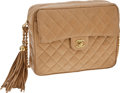 Luxury Accessories:Bags, Heritage Vintage: Chanel Large Beige Lambskin Leather Camera Bagwith Tassel. ...