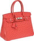Luxury Accessories:Bags, Hermes 30cm Bougainvillea Ostrich Birkin Bag with PalladiumHardware. ...