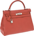 Luxury Accessories:Bags, Hermes 32cm Coq de Roche Chevre Leather Retourne Kelly Bag withPalladium Hardware. ...