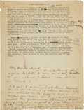 "Autographs:Celebrities, W. B. ""Bat"" Masterson: The Most Important Surviving ManuscriptDocument from this Famous Western Legend. ..."