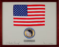 Transportation:Space Exploration, Apollo 12 Flown Framed Larger-Size American Flag Originally fromthe Alan Bean Family Collection, Signed and Certified by Miss...