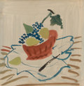 Impressionism & Modernism:Fauvism, ANDRÉ DERAIN (French, 1880-1954). Still Life with Fruit.Watercolor and gouache on paper laid on canvas. 9 x 9 inches (2...
