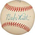 Autographs:Baseballs, 1948 Babe Ruth Signed Baseball with Hank Aaron (Later Signing),PSA/DNA NM-MT 8....