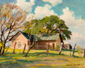 Texas, REVEAU BASSETT (American, 1897-1981). Morgan's Place, 1960.Oil on canvas board. 16 x 20 inches (40.6 x 50.8 cm). Signed...