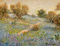 Texas, ROLLA TAYLOR (American, 1871-1970). Bluebonnets, Cacti, andAutumn Trees on Hillside. Oil on canvas board. 12 x 16 inche...