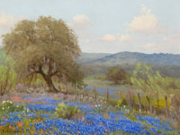 PORFIRIO SALINAS (American, 1910-1973) Landscape with Trees and Bluebonnets Oil on canvas 12 x 16