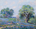 Texas, ELLIE WHEELER (American, 1883-1959). Bluebonnets and Trees on aHillside. Oil on canvas. 16 x 20 inches (40.6 x 50.8 cm)...