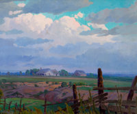 CHARLES TAYLOR BOWLING (American, 1891-1985) Evening Clouds, circa 1930 Oil on canvas