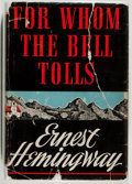 """Books:Literature 1900-up, Ernest Hemingway. For Whom the Bell Tolls. New York: CharlesScribner's Sons, 1940. First edition, with """"A"""" on copyr..."""