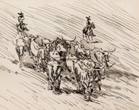 EDWARD BOREIN (American, 1873-1945) Vaqueros and Longhorns Pen and ink on paper 7-1/4 x 9-1/4 inc