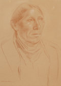 Works on Paper, KENNETH MILLER ADAMS (American, 1897-1966). Portrait of an Indian. Conte crayon on paper. 13-1/4 x 9-1/2 inches (33.7 x ...