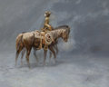 , FROM A PRIVATE DALLAS COLLECTION. GORDON SNIDOW (American, b. 1936). The Empty Saddle. Oil on board. 24 x 30 inches (6...