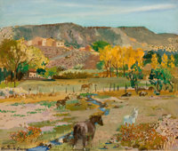 FROM THE PRIVATE COLLECTION OF A TEXAS FAMILY  RANDALL DAVEY (American, 1887-1964) Landscape (New Mexico<
