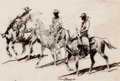 Works on Paper, EDWARD BOREIN (American, 1873-1945). The Three Cowboys, circa 1930. Pen and ink on paper. 6 x 8-3/4 inches (15.2 x 22.2 ...