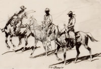 EDWARD BOREIN (American, 1873-1945) The Three Cowboys, circa 1930 Pen and ink on paper 6 x 8-3/4