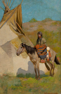 EDWIN WILLARD DEMING (American, 1860-1942) Indian on Horseback Oil on canvas 17-1/4 x 11-1/4 inch