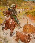 Paintings, BENTON HENDERSON CLARK (American, 1895-1964). Cattle Driver. Oil on canvas. 32 x 26 inches (81.3 x 66.0 cm). Signed cent...
