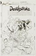 Original Comic Art:Covers, Mike Zeck - Deathstroke, the Terminator #13 Cover RecreationOriginal Art (undated). Deathstroke tackles the battlewagon cal...