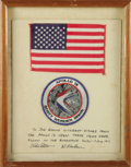 "Autographs:Celebrities, U.S. Flag & Patch Flown to the Moon on Apollo 15! A 6"" x 4""U.S. flag and the Apollo 15 patch are affixed to a 9"" x 11"" mat ...(Total: 1 Item)"