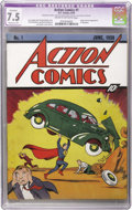 Golden Age (1938-1955):Superhero, Action Comics #1 (DC, 1938) CGC Apparent VF- 7.5 Moderate (P) Cream to off-white pages. In comic collecting, nothing bestows...