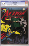 Golden Age (1938-1955):Superhero, Action Comics #70 (DC, 1944) CGC VF/NM 9.0 Off-white to white pages. An unusual nighttime cover scene by Jack Burnley really...