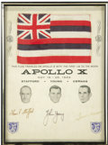 "Autographs:Celebrities, Hawaii Flag Carried to the Moon on Apollo 10! A 6"" x 4"" Hawaiistate flag has been affixed to an 8"" x 11"" card captioned ""...(Total: 1 Item)"