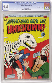 """Adventures Into The Unknown #29 Davis Crippen (""""D"""" Copy) pedigree (ACG, 1952) CGC NM 9.4 Off-white pages. Ken..."""