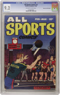 Golden Age (1938-1955):Miscellaneous, All Sports Comics #3 Mile High pedigree (Hillman Publications, 1949) CGC NM- 9.2 Off-white to white pages. Mort Lawrence art...