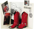 Music Memorabilia:Costumes, Jeannie Seely Costume Boots. This pair of red leather boots withintricately stitched design were worn by Grand Ole Opry reg...(Total: 1 Item)