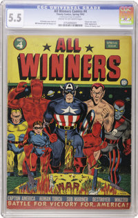 All Winners Comics #4 (Timely, 1942) CGC FN- 5.5 Cream to off-white pages. This war propaganda cover by Al Avison is a r...