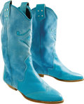 Music Memorabilia:Costumes, Barbara Mandrell Owned and Worn Boots. A pair of Italian-madeturquoise suede-and-leather cowboy boots owned and worn by the...(Total: 1 Item)