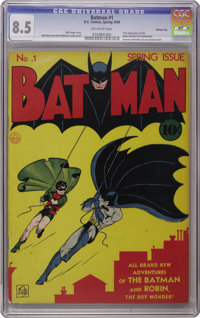 Batman #1 Kansas City pedigree (DC, 1940) CGC VF+ 8.5 Off-white pages. We can't remember the last time an unrestored cop...