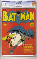 "Golden Age (1938-1955):Superhero, Batman #6 ""D"" Copy pedigree (DC, 1941) CGC VF+ 8.5 Off-white pages. It's the Dynamic Duo on one of the most iconic of all th..."