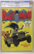 "Golden Age (1938-1955):Superhero, Batman #12 (DC, 1942) CGC VF- 7.5 White pages. You gotta love those earlier, ""large logo"" DC books, and this one's got a pat..."