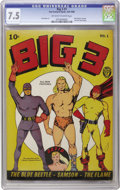 Golden Age (1938-1955):Superhero, Big 3 #1 (Fox, 1940) CGC VF- 7.5 Off-white to white pages. Whatever kept this copy from a higher grade is not apparent from ...