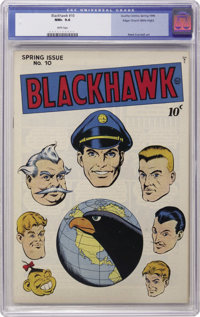 Blackhawk #10 Mile High pedigree (Quality, 1946) CGC NM+ 9.6 White pages. The beautiful white cover of this pedigree boo...