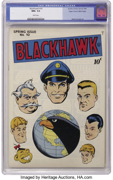 Blackhawk #10 Mile High pedigree (Quality, 1946) CGC NM+ 9.6 White pages. The beautiful white cover of this pedigree book fe...