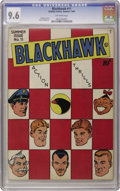Golden Age (1938-1955):Adventure, Blackhawk #11 (Quality, 1946) CGC NM+ 9.6 Off-white pages. A great checkerboard cover sets this book off from the rest, and ...