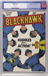 Blackhawk #16 Mile High pedigree (Quality, 1947) CGC NM+ 9.6 White pages. Huddle up, comic fans -- it's time to run the...