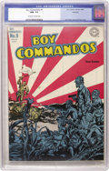 Golden Age (1938-1955):War, Boy Commandos #9 Hawkeye pedigree (DC, 1944) CGC NM- 9.2 Off-whiteto white pages. Simon and Kirby were never lacking for an...