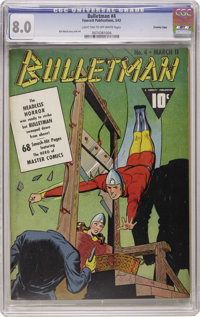 Bulletman #4 Crowley Copy pedigree (Fawcett, 1942) CGC VF 8.0 Light tan to off-white pages. Features a guillotine cover...