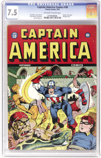 Captain America Comics #30 (Timely, 1943) CGC VF- 7.5 Off-white to white pages. Syd Shores does his best Alex Schomburg...